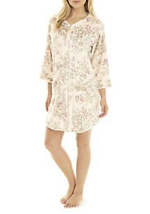 Short Printed French Fleece Robe