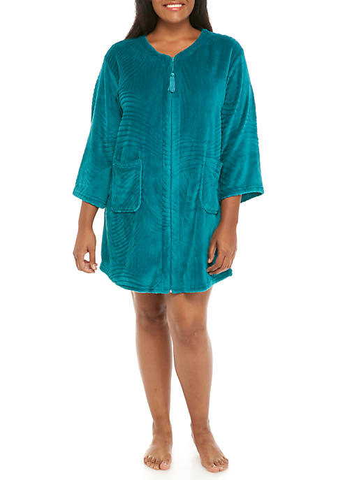 Miss Elaine Jacquard Fleece Short Zip Nightgown