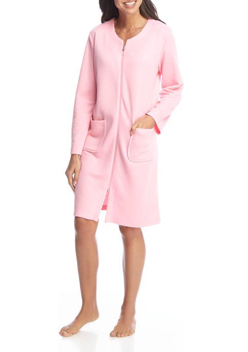 Miss Elaine Womens Quilt Knit Short Zip Robe