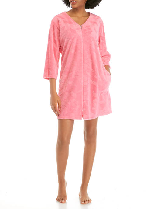 Miss Elaine Micro Terry Short Zip Robe