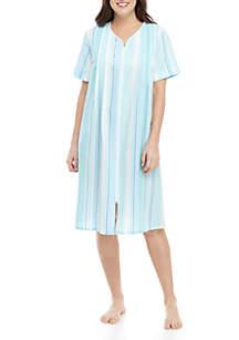 Miss Elaine Short Zip Seersucker Sleep Gown