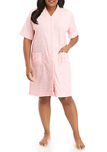 Miss Elaine Plus Size Stretch Terry Grip Robe