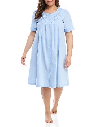 Miss Elaine Plus Size Seersucker Short Nightgown | belk