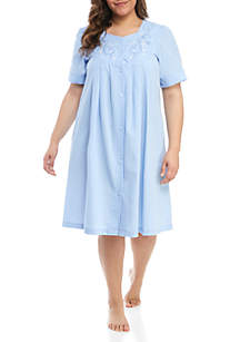 Miss Elaine Plus Size Seersucker Short Nightgown