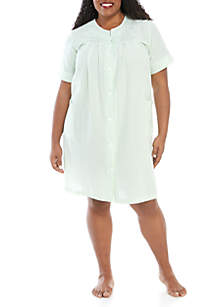 Miss Elaine Plus Size Seersucker Nightgown
