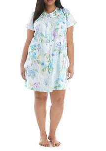 Miss Elaine Plus Size Sateen Short Grip Pajama Sleep Gown