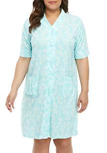 Miss Elaine Plus Size Stretch Terry Short Nightgown