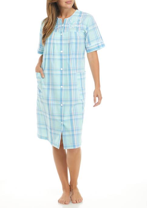 Seersucker Short Sleep Gown
