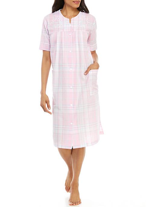 Miss Elaine Seersucker Short Grip Robe