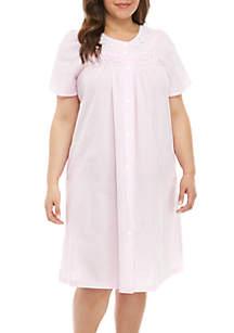Miss Elaine Plus Size Seersucker Short Grip Robe