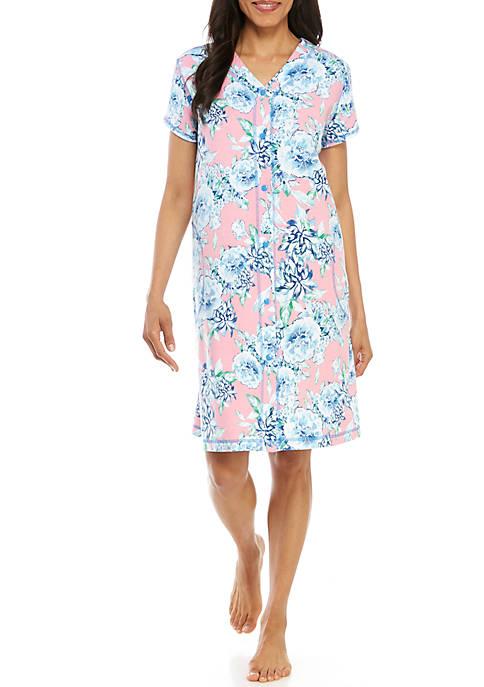 Miss Elaine Floral Interlock Short Grip Robe