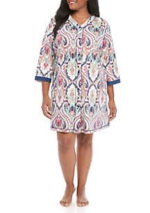 Miss Elaine Plus Size Interlock Knit Short Robe