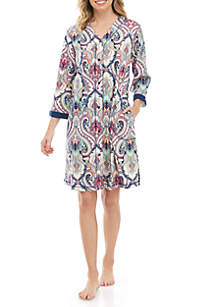 Miss Elaine Printed Knit Button Robe