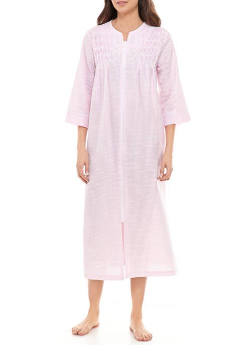Miss Elaine Womens Seersucker Short Button Robe