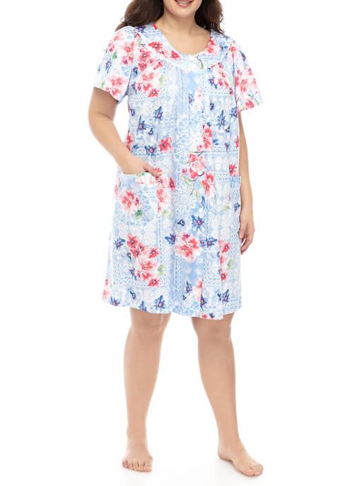 Miss Elaine Plus Size Printed Sateen Short Robe
