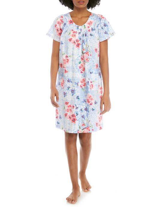 Miss Elaine Printed Sateen Short Button Robe