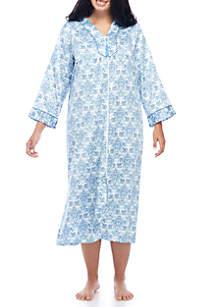 Plus Size Long Zip Robe