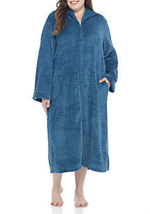 Plus Size Jacquard Fleece Zip-Front Robe