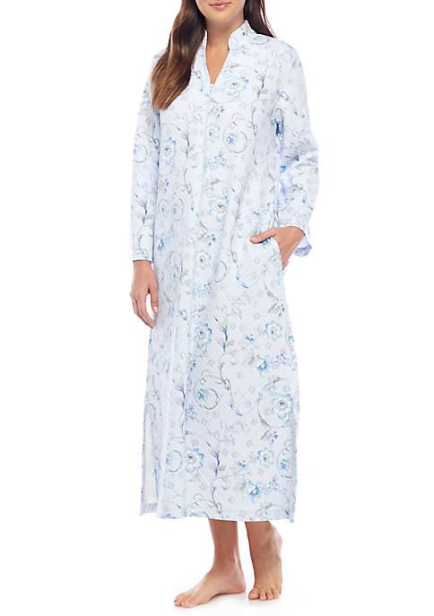 Miss Elaine Quilt In Knit Print Long Zip Gown