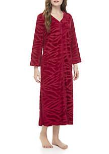 Micro Velour Long Zip Robe
