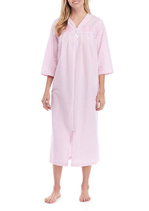 Miss Elaine Long Zip Seersucker Sleep Gown
