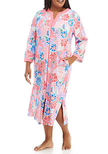 Plus Size Interlock Long Zip Robe