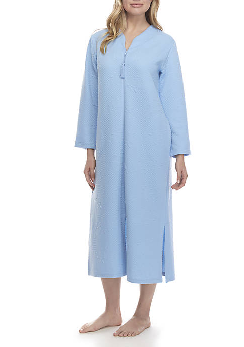Miss Elaine Quilt-in-Knit Long Zip Robe