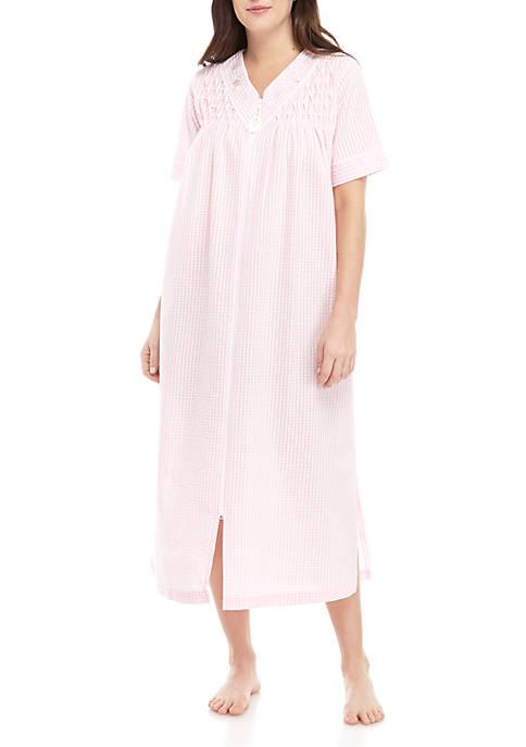 Miss Elaine Long Zip Seersucker Sleep Gown