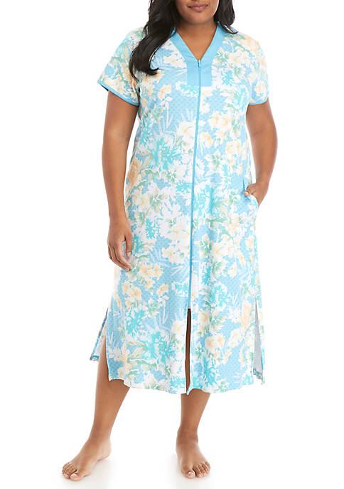 Plus Size Interlock Long Zip Robe
