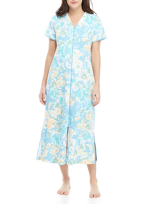 Miss Elaine Interlock Long Zip Sleep Dress