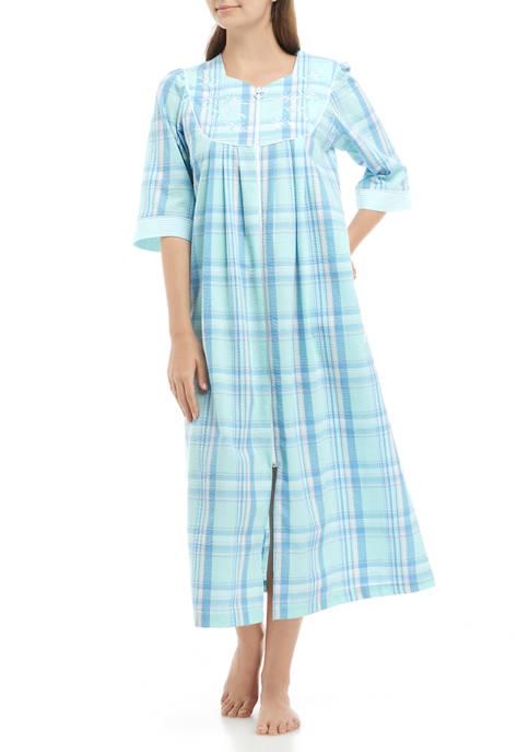 Seersucker Long Zip Sleep Gown