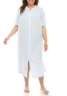 Miss Elaine Plus Size Seersucker Long Zip Sleep Gown