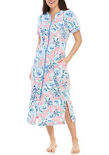 Miss Elaine Interlock Long Zip Robe