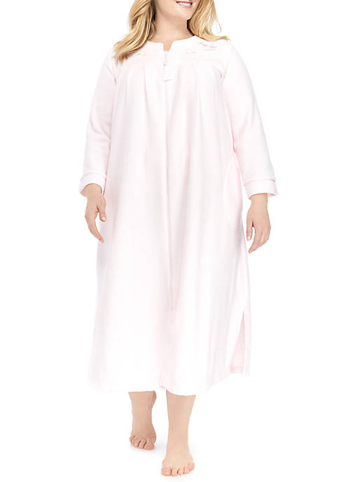 Miss Elaine Plus Size Long Zip Front Robe