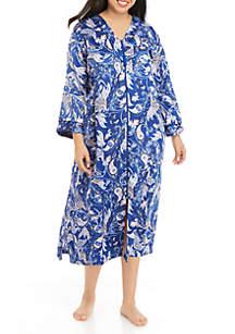 Miss Elaine Plus Size Long Zip Robe