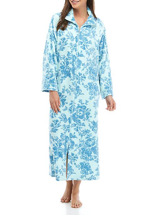 Womens Luxe Fleece Long Zip Robe