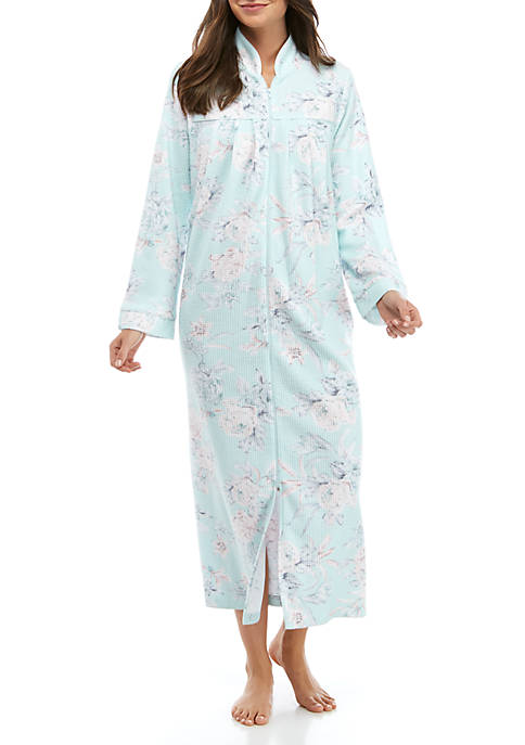 Miss Elaine Brushed Waffle Knit Long Zip Robe