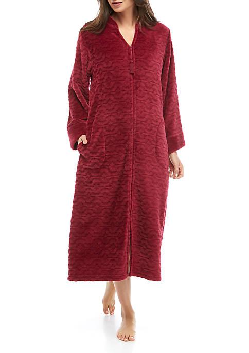 Womens Cuddle Fleece Long Zip Robe