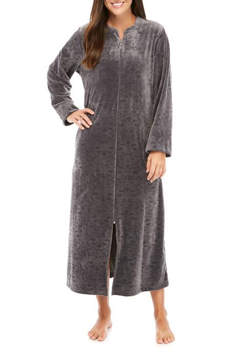 Miss Elaine Micro Fleece Brocade Long Zip Robe