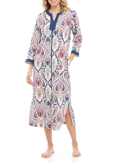 Miss Elaine Printed Knit Long Robe