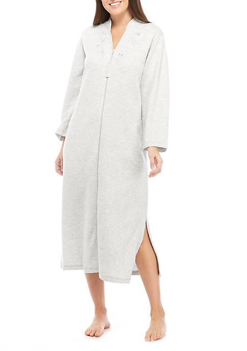 Miss Elaine Quilt Knit Long Zip Robe