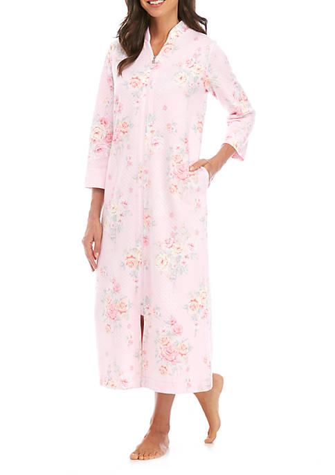 Womens Quilt Knit Print Long Zip Robe