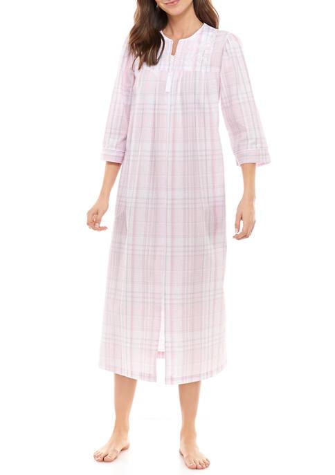 Seersucker Long Zip Robe