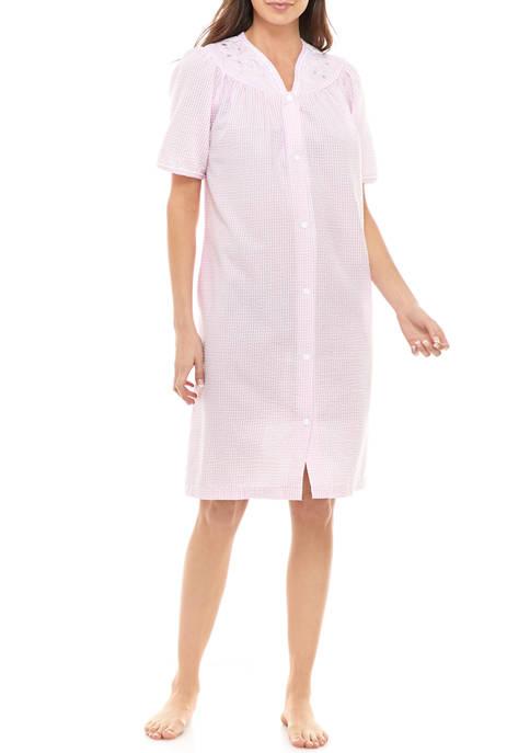 Miss Elaine Womens Seersucker Long Zip Robe