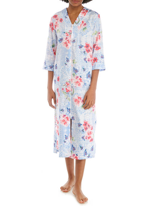 Miss Elaine Printed Sateen Long Zip Robe