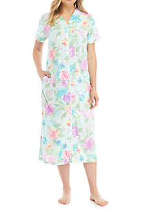 Printed Terry Long Zip Gown