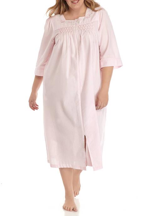 Miss Elaine Plus Size Seersucker Long Zip Robe