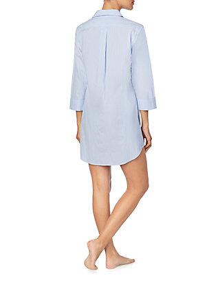 Love To Sleep Women/'s Woven Check 3//4 Turn Up Sleeve Button Through Nightshirt