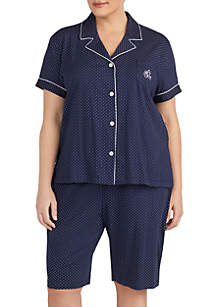Lauren Ralph Lauren Plus Size 2-Piece Short Sleeve Notch Bermuda Pajama Set