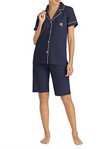 Lauren Ralph Lauren 2 Piece Short Sleeve Cotton Bermuda Pajama Set